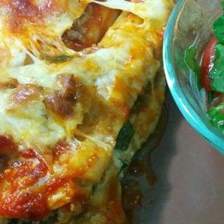 Spinach Manicotti with Italian Sausage.