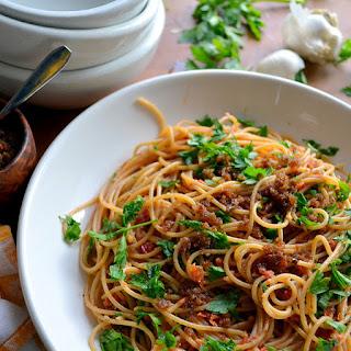 Pasta with Sun Dried Tomato and Almond Pesto.