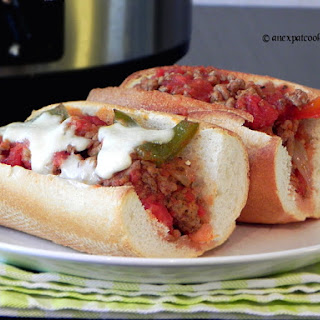 Slow Cooker Sausage and Peppers Sandwiches.
