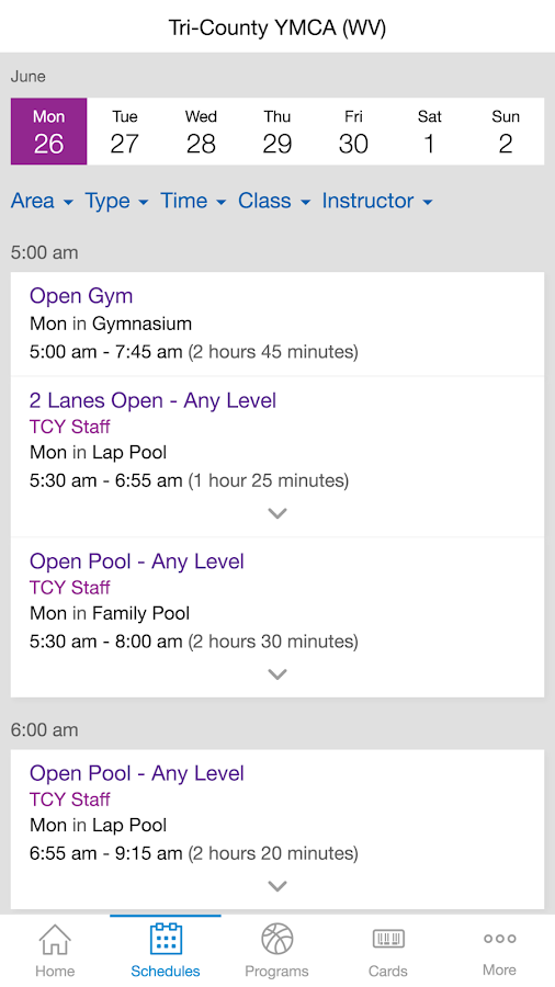 Tri-County YMCA- screenshot