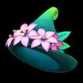 ピンクの草木のさんかく帽子S