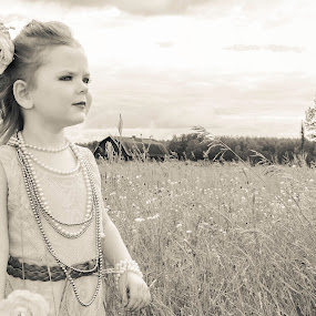 Antiqued Beauty by Vanessa Meyers - Babies & Children Child Portraits ( field, child, sepia, outdoors, portrait )