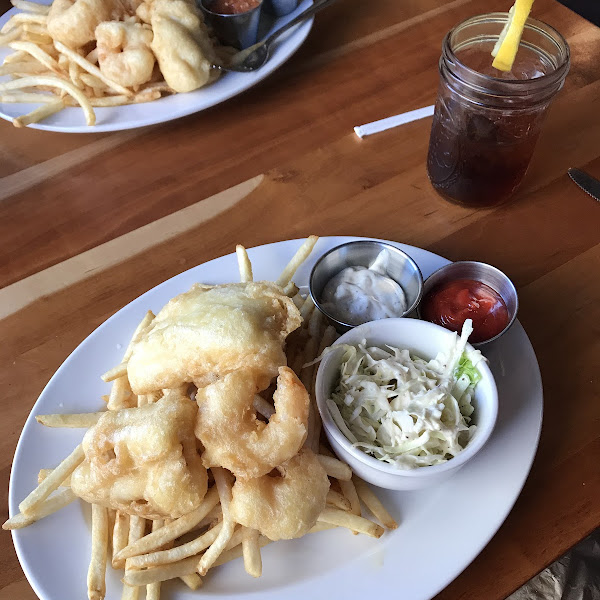 Haddock fish and chips with fries and coleslaw (and two fried shrimp from my husbands plate!)