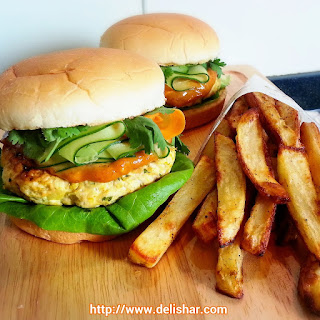 Satay Chicken Burger with Spicy Peanut Sauce