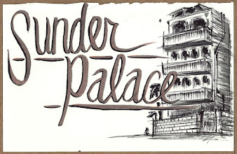 Photo: In Jaipur we stayed at a fantastic place called Sunder Palace. I was doing this drawing from memory, but i am happy with how it turned out and it definitely captured the feel of the place, if not the perfect architechure.