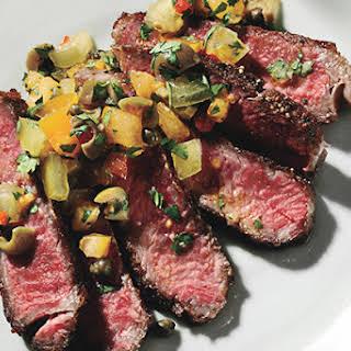 Seared Rib Eye Steak with Tomato-Caper Relish.