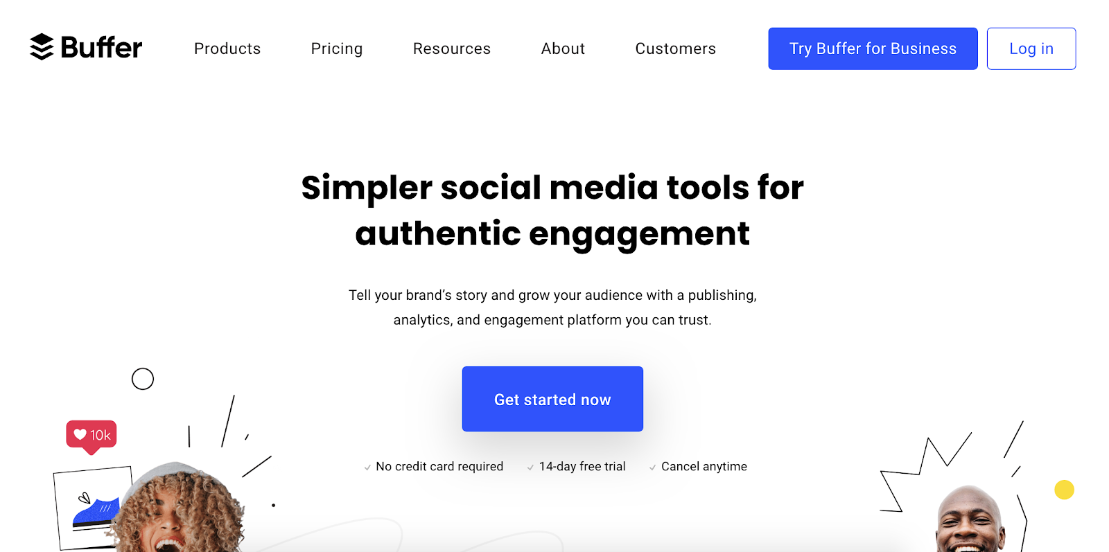 Buffer social media marketing homepage