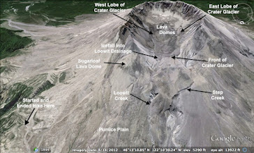 """Photo: We started in the lower left, crossed the Pumice Plain, crossed Loowit and Step Creeks, and hiked up to """"Front of Crater Glacier"""". NOTE: I labelled the east and west lobes of the glacier wrong. The labels should be switched."""