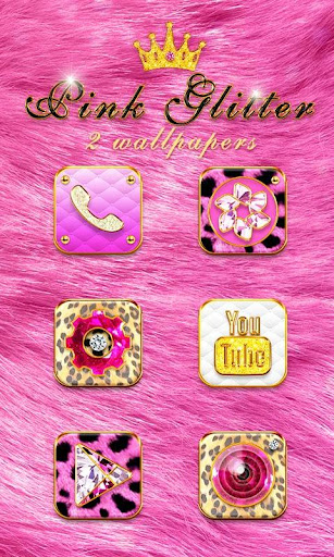 Pink Glitter GO Launcher Theme