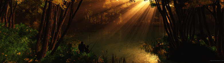 Photo: Dual-Monitor Wallpaper of the Day  Father and son fishing in a secluded lake or river bend. Not that I like fishing, but wow that's a pretty picture.  The album: https://plus.google.com/photos/113858797523322684974/albums/5894547191044530097  The images are all at least 3840x1080. They are and will be mostly #scifi and #fantasy related.  #desktopwallpapers #dualmonitor