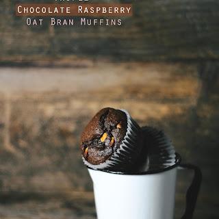 Triple Chocolate Raspberry Oat Bran Muffins.