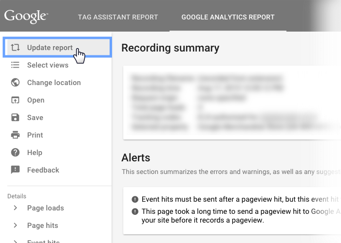 Google Tag Assistant Recordings update report menu