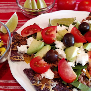 Party Beef Nachos and Blue Corn Chips