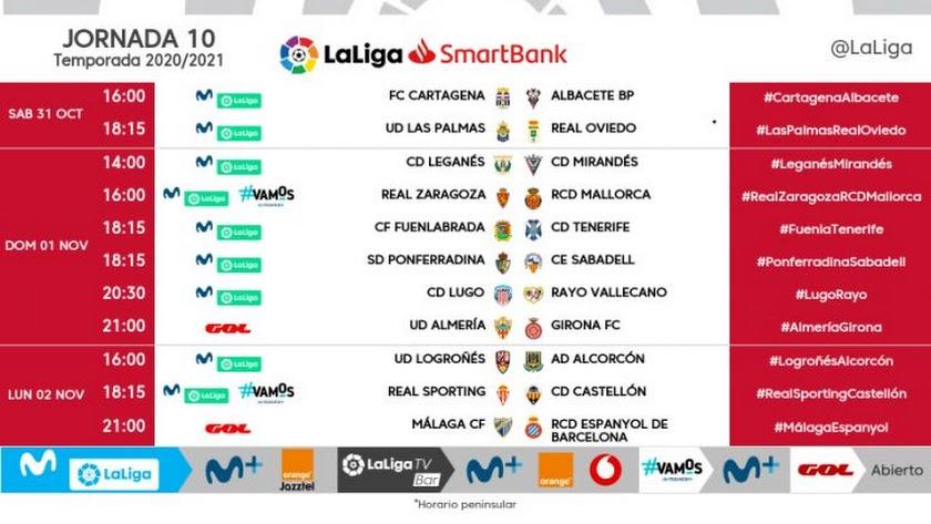Horarios de la jornada 10 en Segunda División.