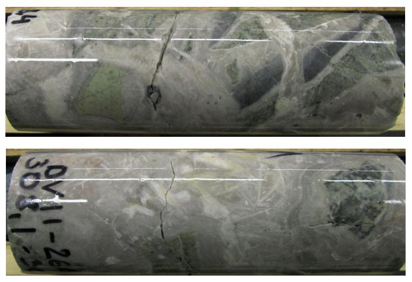 Основная кварцевая жила Зоны 37. Жильная брекчия.