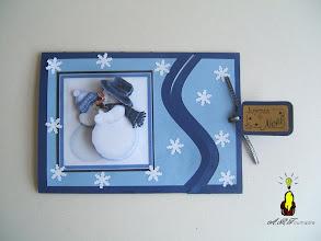 Photo: Carte à tirer 3D les bonhommes de neige amoureux