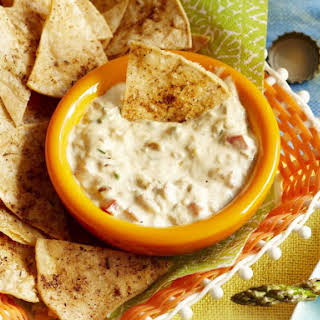 Queso Fundido Dip with Tortilla Chips.