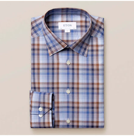ETON Blue and brown plaid signature twill contemporary fit