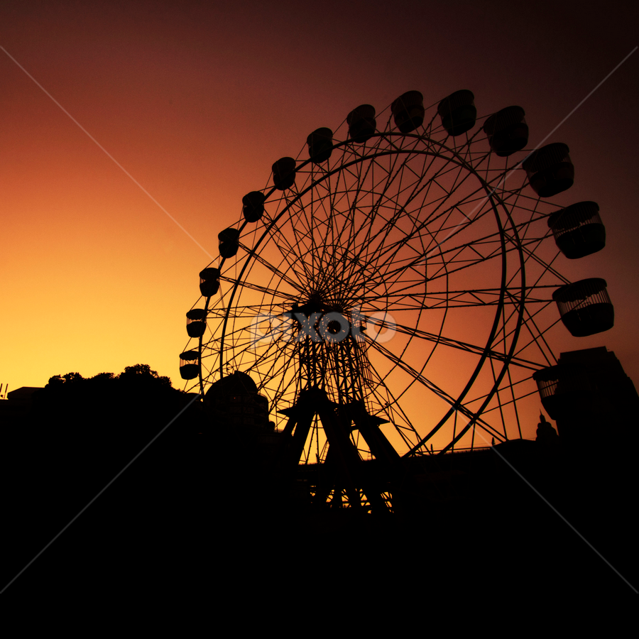 sunset, sunrise, twilight, dusk, dawn, luna park, silhouette by Anton Subiyanto - City,  Street & Park  Amusement Parks