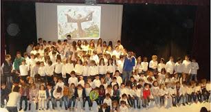 Alumnado del C.E.I.P. Miguel Zubeldia en las actuaciones del Día de la PAZ y la No Violencia.