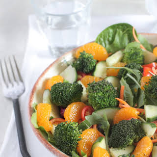 Roasted Broccoli Mandarin Sesame Ginger Salad.