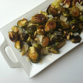 Lemon Roasted Brussels Sprouts with Pine Nuts.