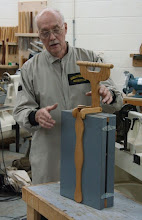 "Photo: Demonstrator for the evening Jim Duxbury with his traveling ""tool tote"" in the closed position..."