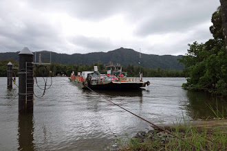 Photo: Daintree River ferry. This marks the beginning of some truly challenging and treacherous coastal mountain range driving up the north coast, through heavily canopied, narrow switchback roads.