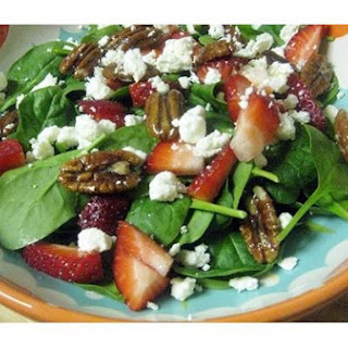 Spinach Salad With Strawberries, Gorgonzola and Glazed Pecans