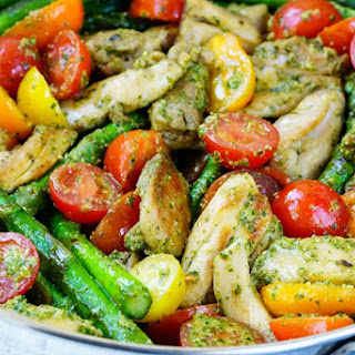 One Pan Pesto Chicken & Veggies Makes the Perfect Clean Eating Meal!.