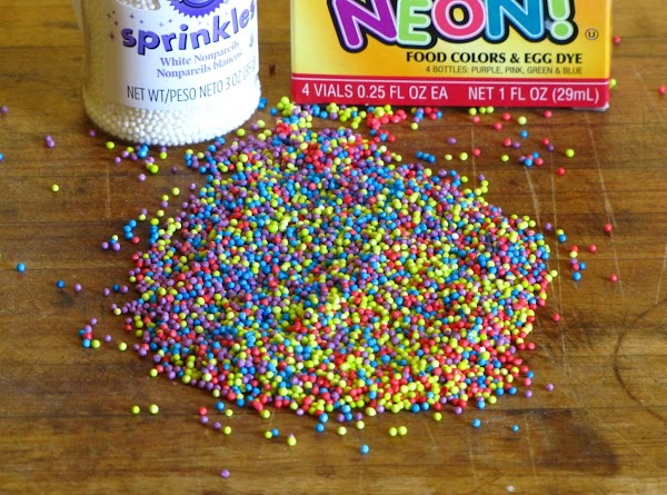 I didn't have colored sprinkles, but I did have tiny White Nonpareils (WalMart,Hobby Lobby,...