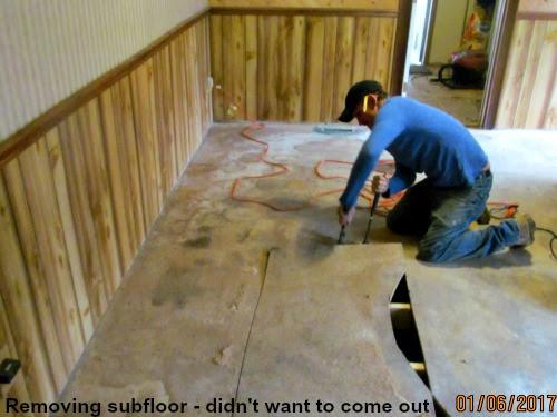 Removing original subflooring in LP Painted Ponys' house