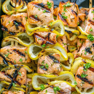 Grilled Salmon Skewers with Garlic and Dijon.