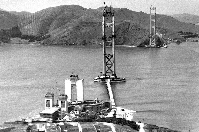 Photo: Work progresses on the Golden Gate Bridge, as seen in 1934. (AP Photo/Redwood Empire Association)
