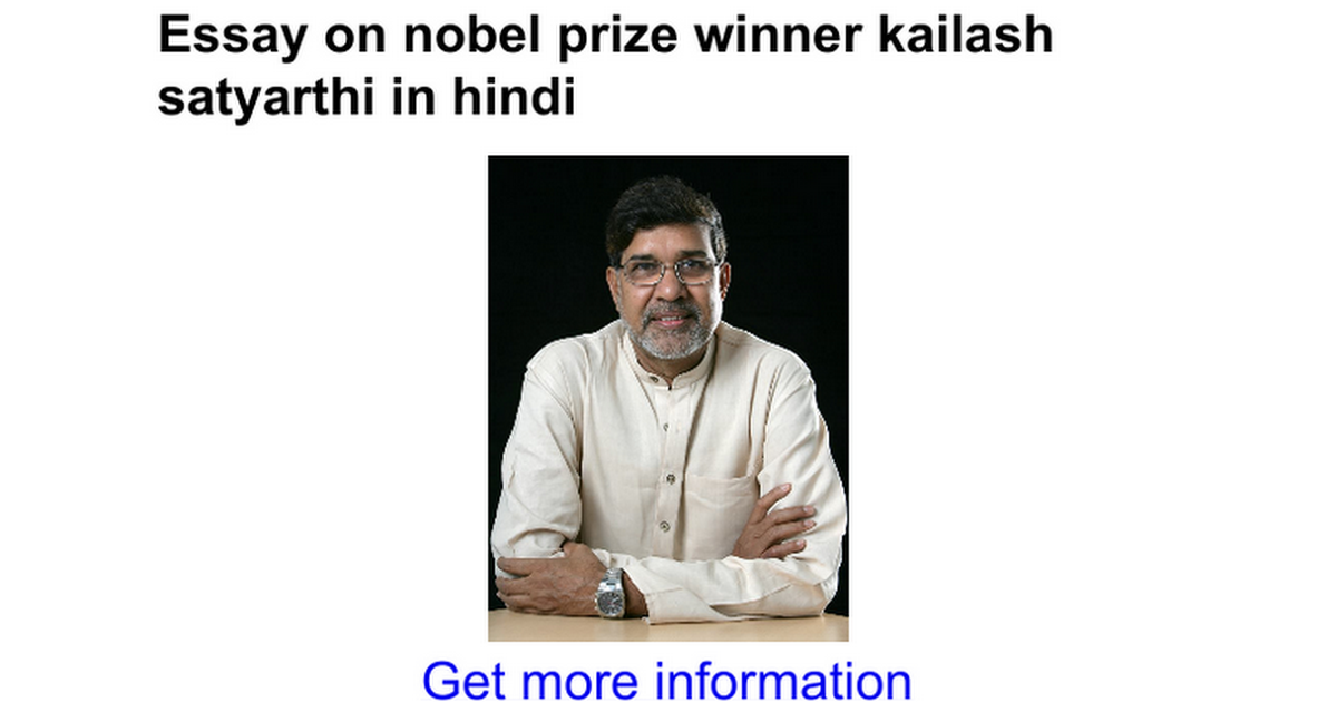 essay on nobel prize winner kailash satyarthi in hindi google docs