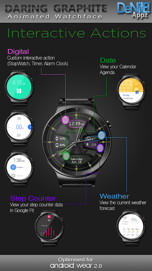 Daring Graphite HD Watch Face- screenshot