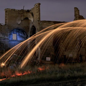 polvoranca by Miguel Lopez De Haro - Buildings & Architecture Places of Worship ( , Steel Wool, Fire, Sparks, long, exposure, daytime, edition, challenge )