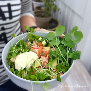 Salad with Hot Smoked Salmon and Cold Cauliflower Bearnaise Recipe