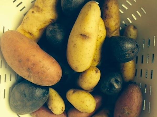 Scrub potatoes. Combine all ingredients in a medium saucepan.