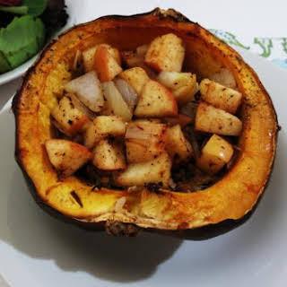 Apple and Rice Stuffed Acorn Squash.