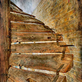 The Old Wooden Stairs by Sue Bernhard - Smith - Buildings & Architecture Architectural Detail ( stairs, stairway, staircase, steps,  )