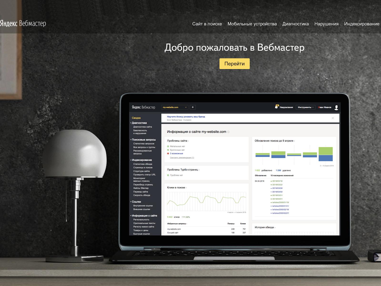 Yandex.Webmaster — информативный ресурс