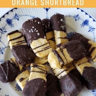 Chocolate Dipped Orange Shortbread Cookies.