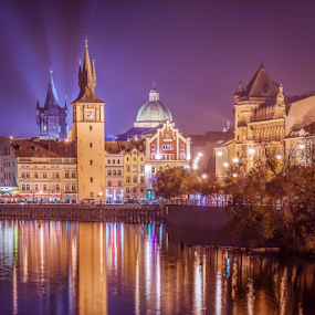Night in Prague by Anita  Christine - City,  Street & Park  Street Scenes ( deutschland, europe, park, nightshot, anitachristine, czech republic, long exposure, germany, cityscape, light, prague, street lights, nightscape,  )