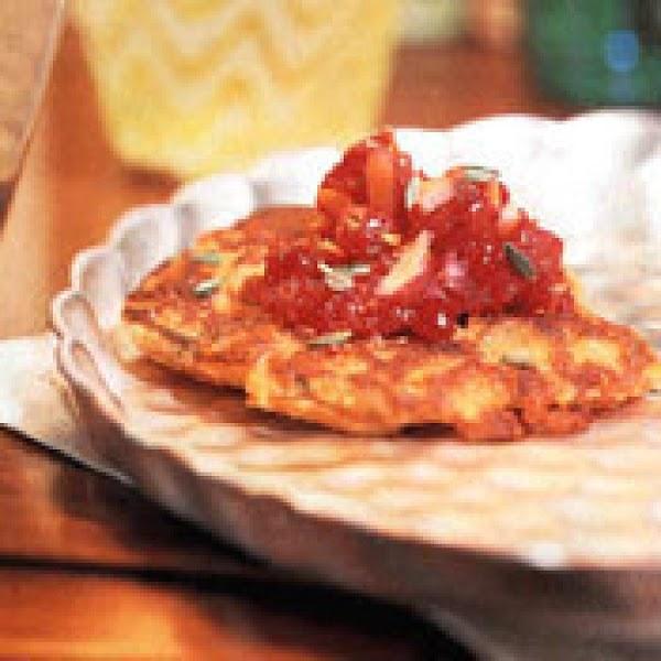 Sweet Potato Pancakes With  Cranberry Glaze Recipe