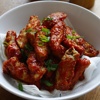 Crispy, sweet and sticky Korean fried chicken