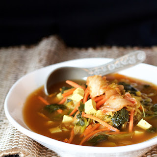 Asian Vegetable Soup with Tofu, Kimchi and Rice Noodles.