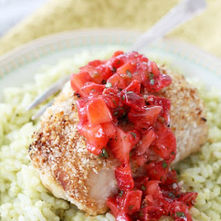 Cheesy Popper Chicken with Strawberry Salsa and Guacamole Rice