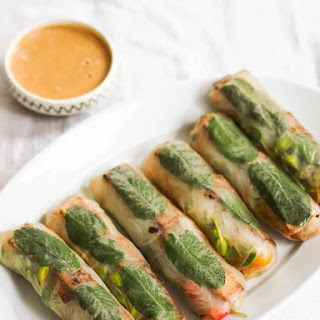 Black Garlic Tofu and Mango Spring Rolls with Peanut Dipping Sauce Recipe