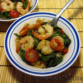 Garlic Shrimp Pasta with Tomatoes and Greens